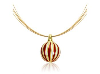 Arany kicsi gömb medál piros csíkokkal