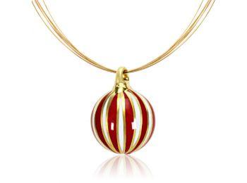 Arany nagy gömb medál piros csíkokkal