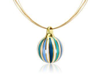 Arany nagy gömb medál kék csíkokkal