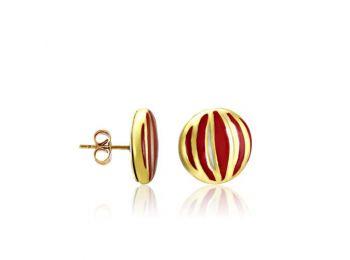 Piros csíkos arany kerek fülbevaló (bedugós)