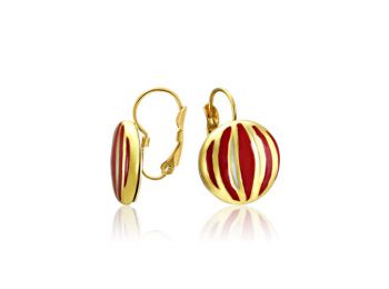Piros csíkos arany kerek fülbevaló (franciakapcsos)