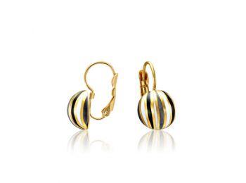 Fekete csíkos arany lencse fülbevaló (franciakapcsos)