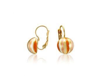 Narancs csíkos arany lencse fülbevaló (franciakapcsos)