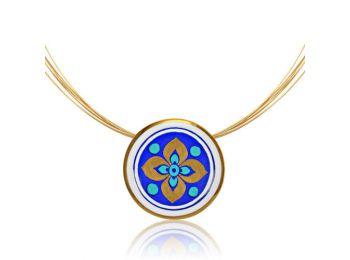 Sivatag aranya kis kerek virágos kék medál