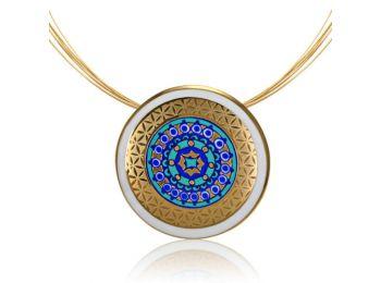 Sivatag aranya nagy kerek mintás kék medál