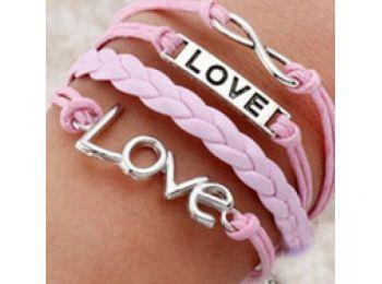 LOVE rózsaszín bőr karkötő