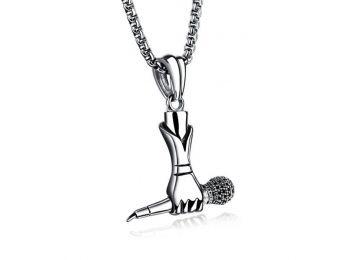 Acél mikrofont fogó kéz nyaklánc