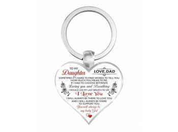 Lánynak apától szív alakú kulcstartó