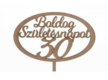Natúr ovális Boldog születésnapot 30 feliratos sziluett
