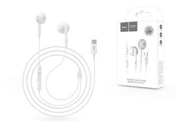 HOCO sztereó fülhallgató USB Type-C csatlakozóval, mikrofonnal - HOCO L10 Acoustic Type-C Wired Earphones with Mic - fehér