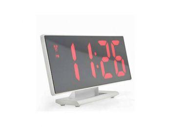 Fehér tükör kijelzős digitális ébresztő óra, asztali