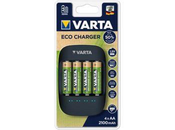 Elemtöltő, AA ceruza/AAA mikro, 4x2100 mAh, VARTAECO (VTL14)