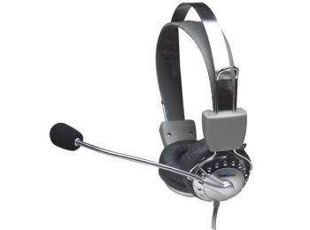 Fejhallgató, mikrofonnal, vezetékes, MANHATTAN 175517 (MAF