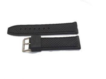 SZ1261 Fekete műanyag óraszíj fekete varrással díszítv