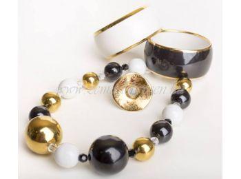 Fekete-fehér-arany porcelán gombócos szett Simple arany g