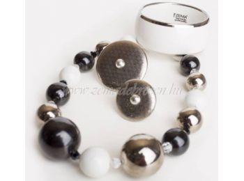 Fekete-fehér-platina porcelán gombócos szett