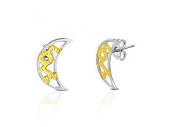 Arany és ezüst színű, félhold alakú nemesacél fülbev