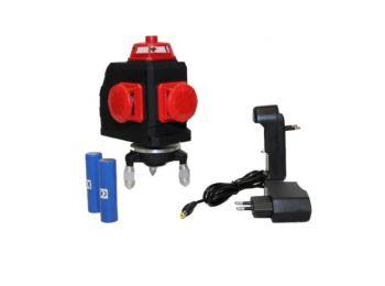 Haina HM7292 Akkumulátoros Önbeállós 12-Vonalas Szintező Lézer Piros 3D -360° -2x Aksi