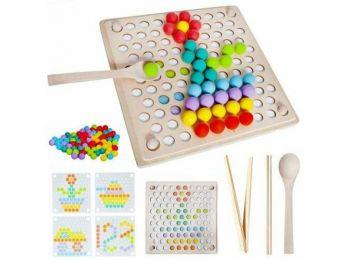 Fa puzzle- színes golyókkal