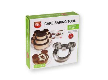 3 részes egérfej alakú tortakeret készlet