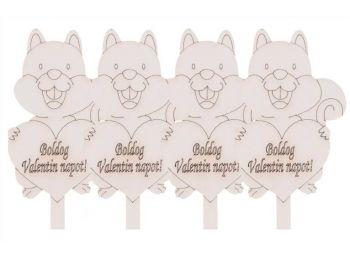 4 db Boldog Valentin napot feliratos szíves mókus fehér s