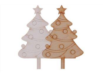2 db natúr fenyőfa karácsonyi sziluett tortadísz