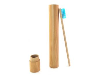 Bambusz fogkefe bambusz tokban kék