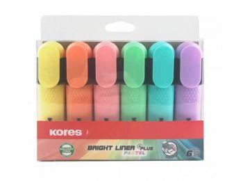 Szövegkiemelő készlet, 0,5-5 mm, KORES Bright Liner Plus Pastel, 6 különböző szín (IK36166)