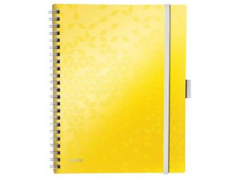 Spirálfüzet, A4, kockás, 80 lap, LEITZ Wow Active, sárga