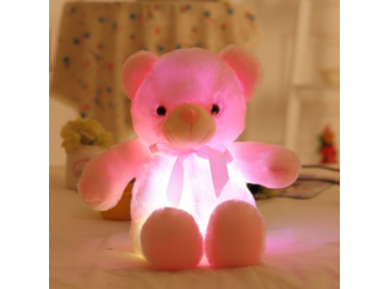 Nagy színes világító plüss medve LED Teddy maci - rózs