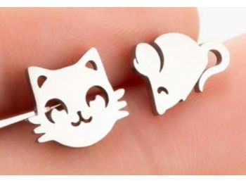 Acél macska-egér fülbevaló