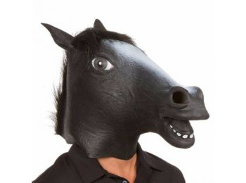 Lófej halloween, farsangi gumi jelmez maszk - fekete