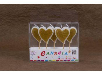 5 részes szív alakú arany színű tortagyertya készlet