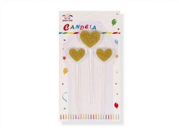 3 részes hosszú szív alakú arany színű tortagyertya k�