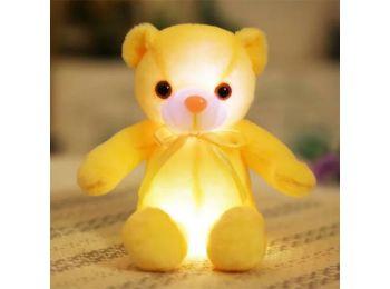 Nagy színes világító plüss medve LED Teddy maci - sárg