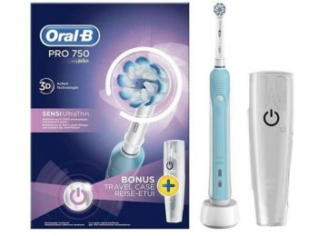 Oral-B PRO 750 Sensi UltraThin elektromos fogkefe utazótokkal - kék