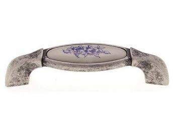 C1017 antikolt ezüst - kék virág porcelán fogantyú