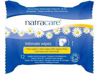 Natracare bio női intim törlőkendő 12db