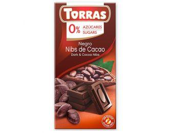 Torras étcsokoládé kakaóbabtörettel 75g