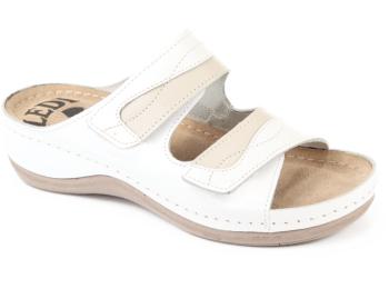 LEDI:  Női bőrpapucs fehér-bézs 412/18