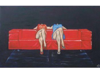 Ladies - olajfestmény vásznon - 70 x 50 cm
