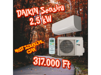 AKCIÓS Daikin Sensira FTXF25B/RXF25B 2,5 kW + 3m szereléss