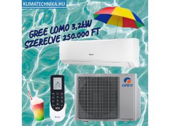 AKCIÓS Gree Lomo Plusz 3,2 kW GWH12QB-K6DND6I szett + 3 m szereléssel