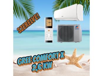 AKCIÓS Gree Comfort X 2,6 kW GWH09ACC-K6DNA1A szett + 3m sz