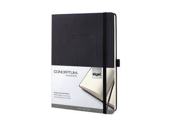 Jegyzetfüzet, exkluzív, tablet, vonalas, 97 lap, keményfedeles, SIGEL Conceptum, fekete (SICO118)