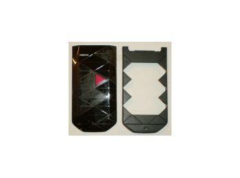 Nokia 7070 előlap és billentyűzet keret fekete-pink*
