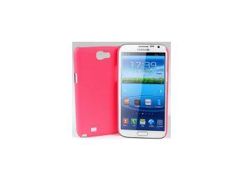 Jekod Shield bőrhatású műanyag hátlaptok kijelzővédő fóliával Samsung N7100, N7105, Galaxy Note 2 piros*