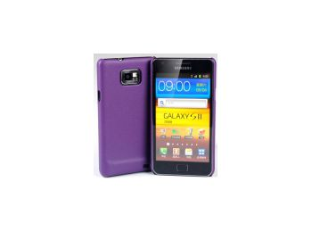 Jekod Shield bőr hátlaptok kijelzővédő fóliával Samsung i9100, i9105, Galaxy S2-höz lila*