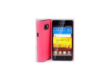 Jekod Shield bőrhatású műanyag hátlaptok kijelzővédő fóliával Samsung i9100, i9105, Galaxy S2-höz piros*